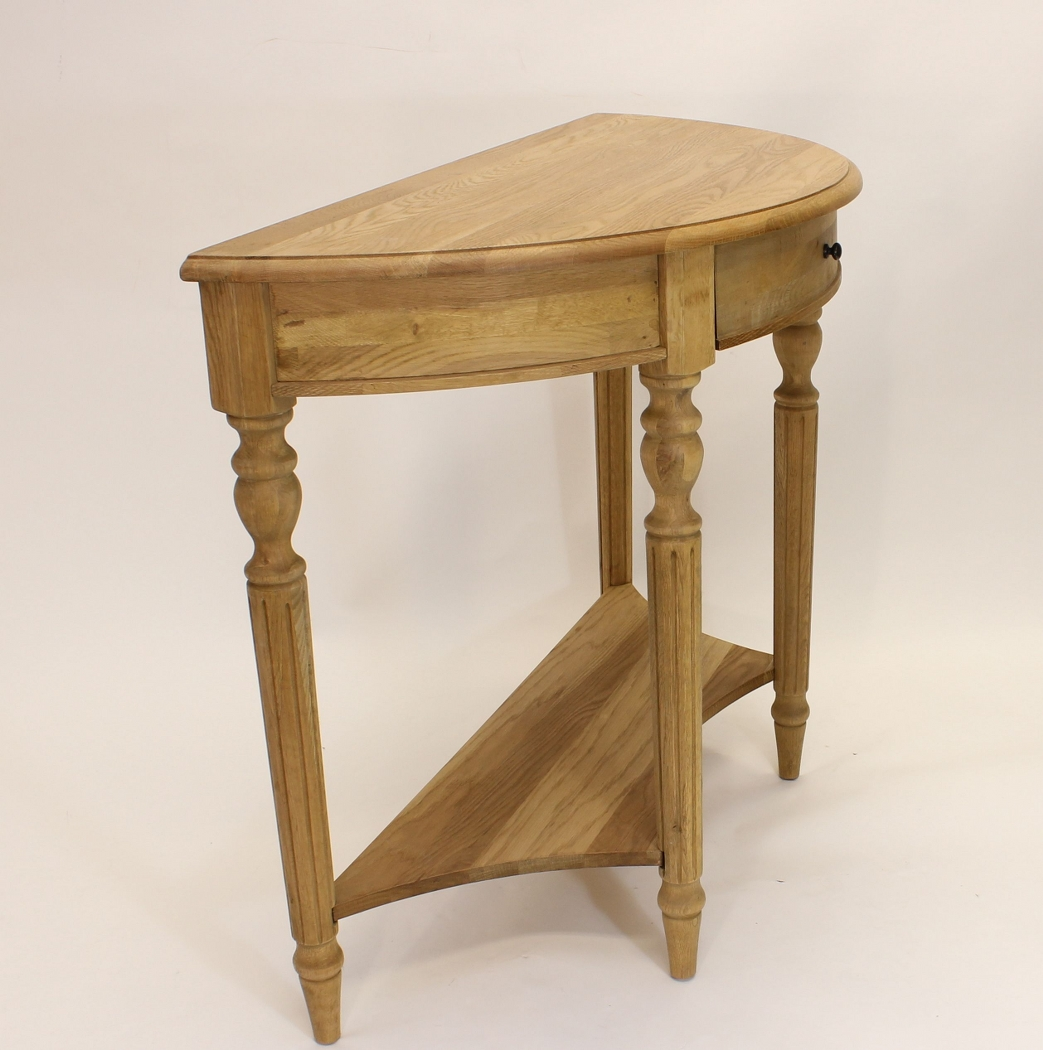 Half Round Sidetable Natural Oak