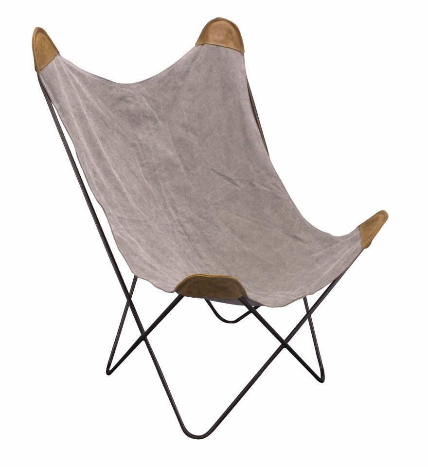 Butterfly metal chair - Butterfly Chair Old Metal Grey Canvas Brown Leather
