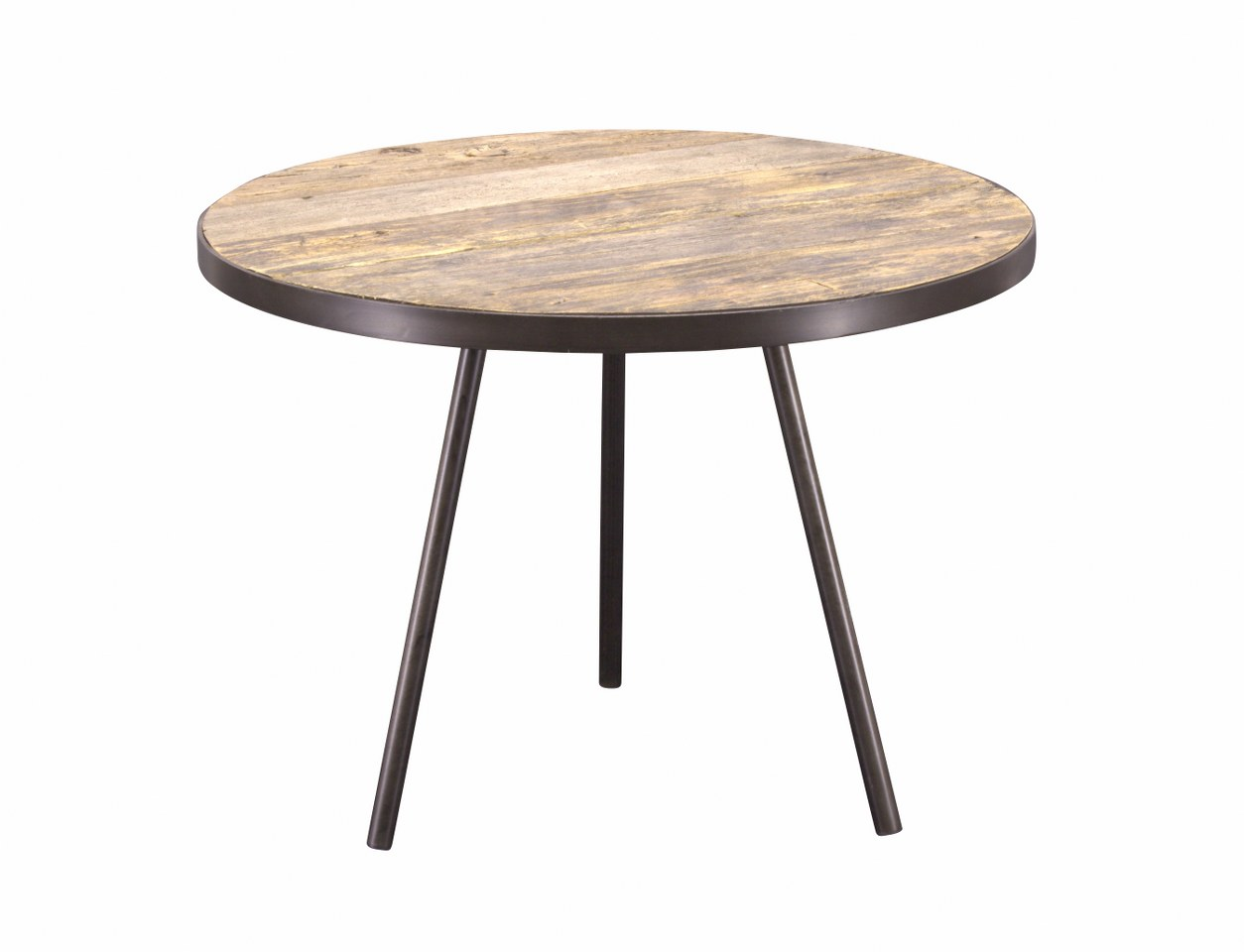 Side table boston black metal unfinished wooden top for Black wood side table