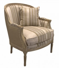 Fauteuil Charleston old oak beige stripe