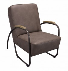 Club chair Miami black metal liver PU