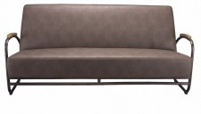 Sofa Miami black metal brown PU