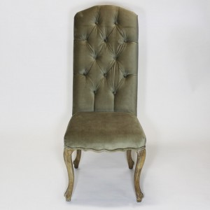 Chair Elizabeth, button back taupe velvet