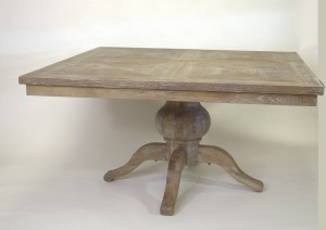 Solid oak square table with moasaic top